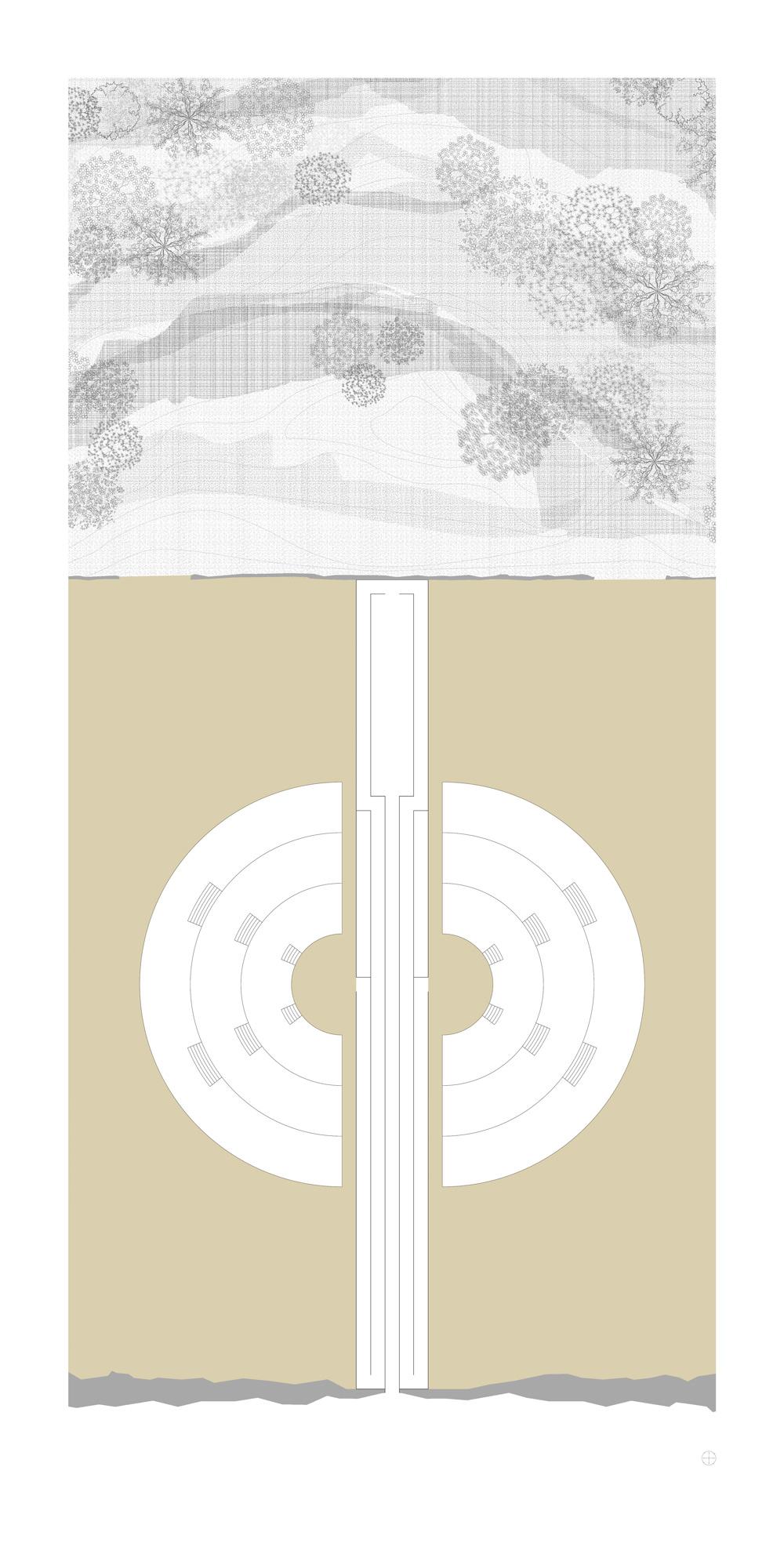 Wandfries Triptichon Raumversuch Nummer Sechs